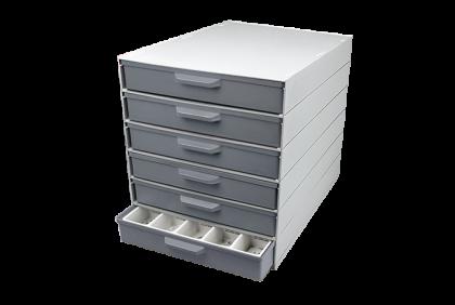 Opbergmaterialen - P062 modulair ladensystem  6 laden  kunststof