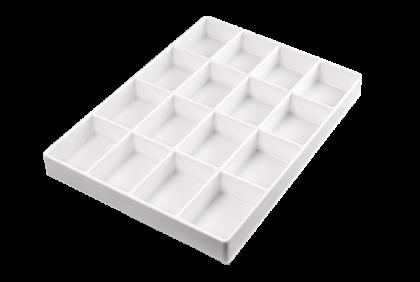 Opbergmaterialen - ST-0017 inleg  16-vaks  kunststof  voor P061/P062/P121