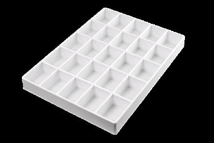 Opbergmaterialen - ST-0018 inleg  25-vaks  kunststof  voor P061/P062