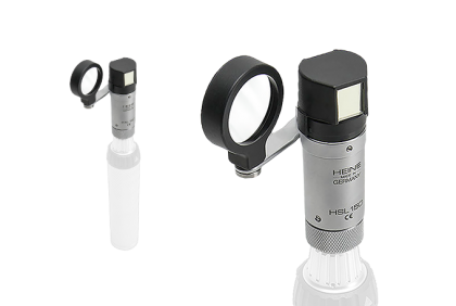 Oogspiegels en skiascopen - U Heine  2,5 V  HSL-150  handspleetlamp