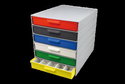 Opbergmaterialen - P061 modulair ladensystem  6 laden  kunststof