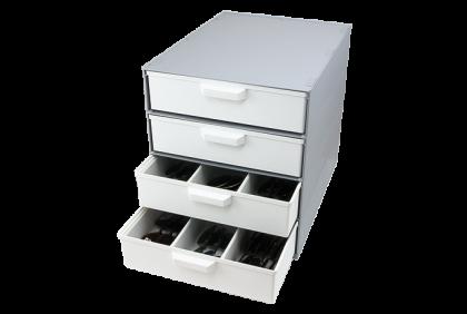 Opbergmaterialen - P121 modulair ladensystem  4 laden  kunststof